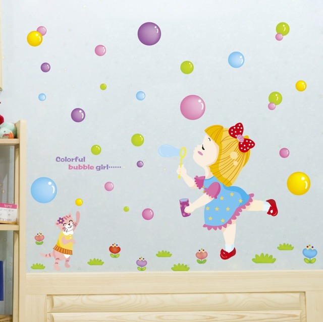 color bubble girl wall stickers cartoon children 's room waterproof