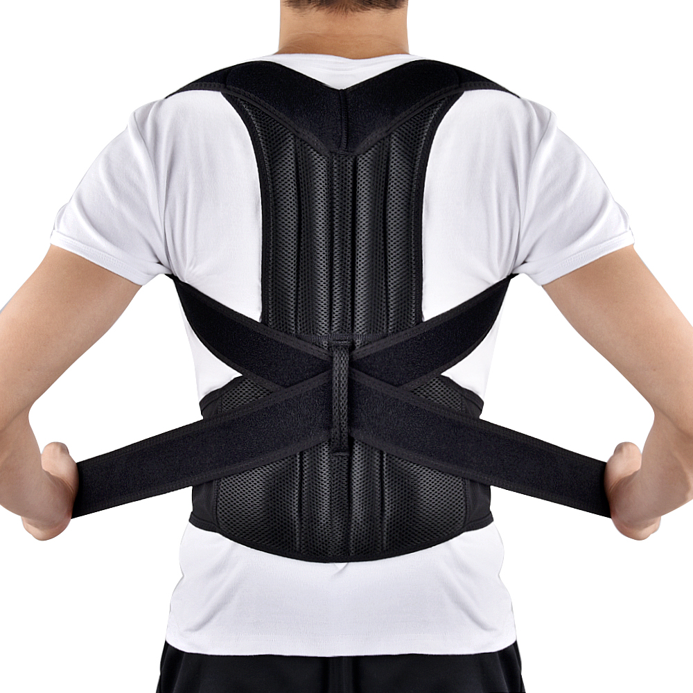 Adjustable Adult Back Brace Support Posture Corrector Therapy Shoulder Lumbar Spine Clavicle Support Belt Posture Correction adjustable neck brace support cervical traction fixation spine care correction protection pain relief posture corrector