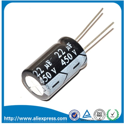 10 יחידות 450 V 22 UF 22 UF 450 V אלומיניום אלקטרוליטי capacitor 450 V/22 UF גודל 13*21 מ