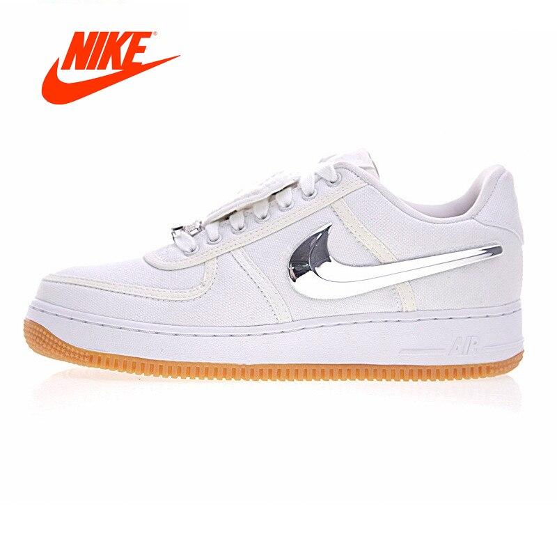 Оригинальный Новое поступление Аутентичные Nike Air Force 1 Low Трэвис Скотт Для мужчин Скейтбординг обувь спортивная обувь, кроссовки белый