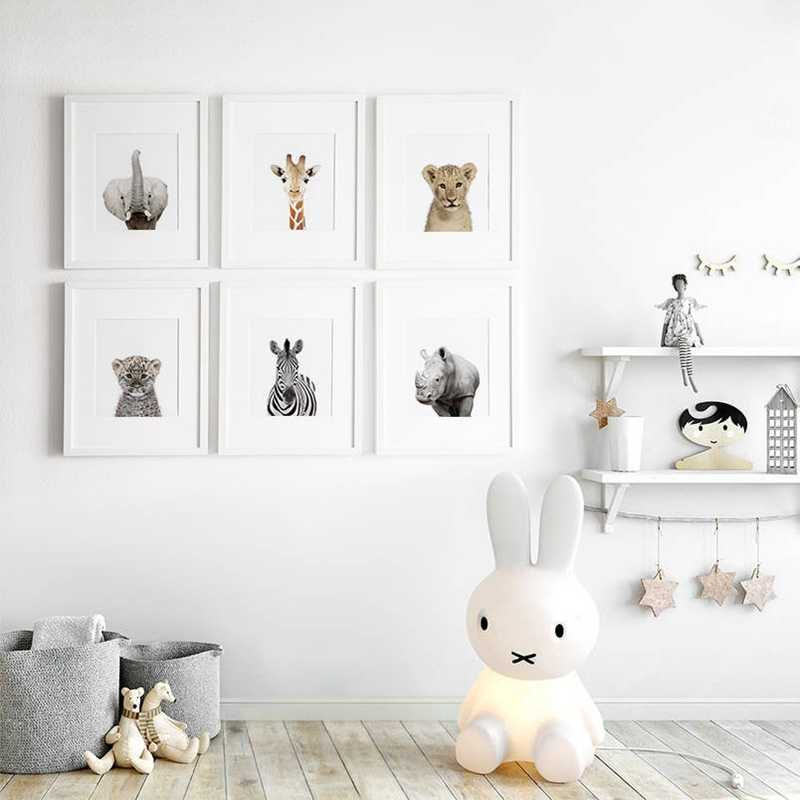 Nursery Decoration Modern Safari Canvas Art Painting Pictures Wild Animals Photography Posters Print Baby Room Wall Decor
