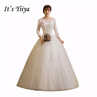 Free Shipping 2017 Plus Size O Neck Lace Full Sleeves Lace Bling Wedding Dresses Bride Ball