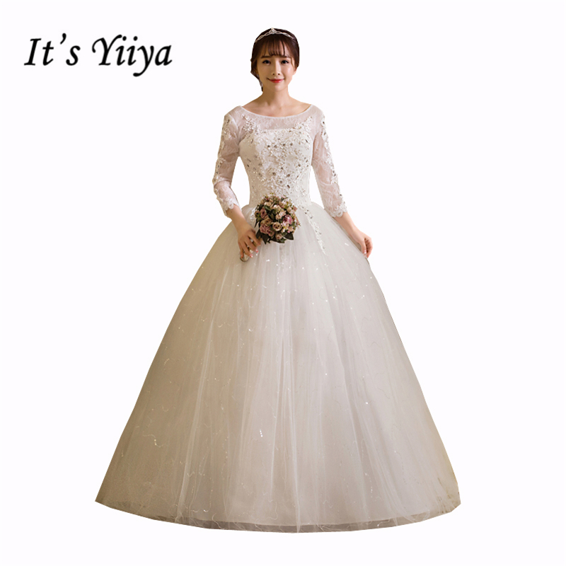 Free Shipping 2017 Plus Size O-neck Lace Full Sleeves Lace Bling Wedding Dresses Bride Ball Gowns Vestidos De Novia HS257