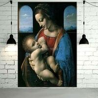Well Known Artwork Superb Skills Artist 100%Hand painted Da Vinci Figure Oil Painting Madonna Litta Oil Painting On Canvas