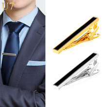 U7 2016 Gold Black Tie Clip For Men's Gifts Classic Gold Plated Business / Groom Suit Men Necktie Clip Clasp TC003