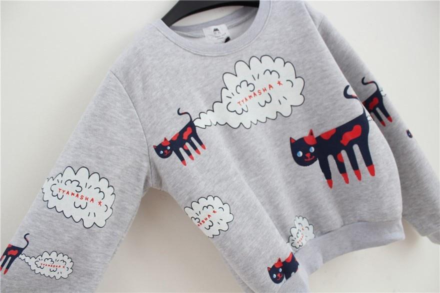 17 New Spring Autumn Sweatshirt Women Tops Plus Size Loose Casual Plus Thick Velvet Cartoon Cat Pattern Sweatshirts Pullovers 20
