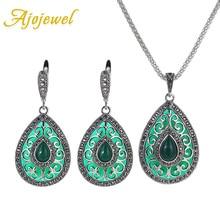 Ajojewel resina piedra gota de agua negro rojo verde mujeres joyería conjunto pendientes collar plateado damas conjuntos de accesorios del vestido