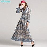 2017 Autumn High Quality Blue Women Elegant Long Sleeve Lace Maxi Dress Fashion Designer Runway Vintage
