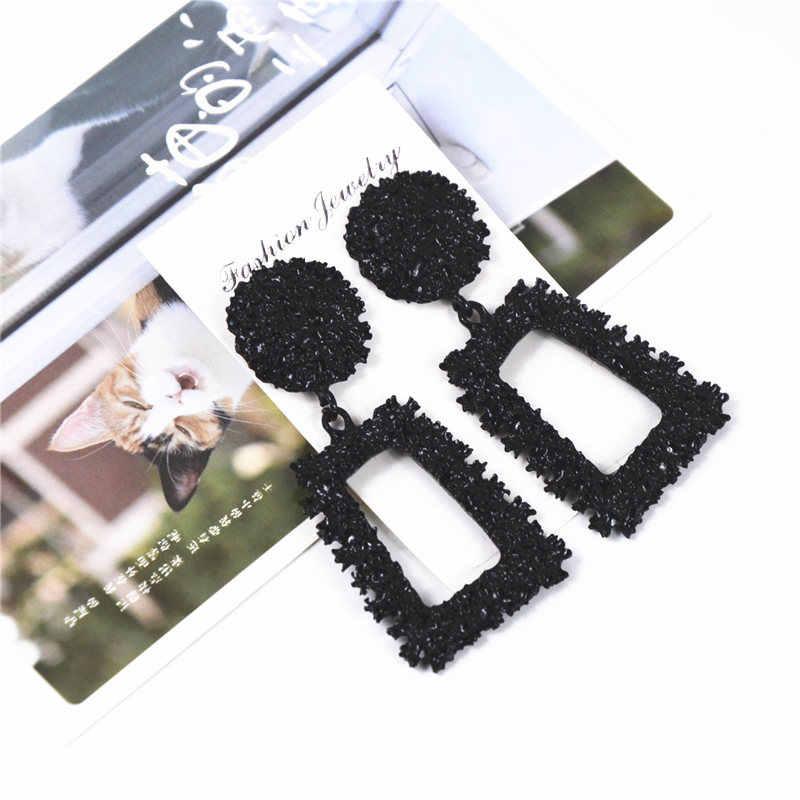 Ufavoirte Nuovo Elegante Grande Annata Orecchini In Metallo per Le Donne di Colore nero Geometrica Dichiarazione Orecchino di Goccia Appeso Tendenza di Moda