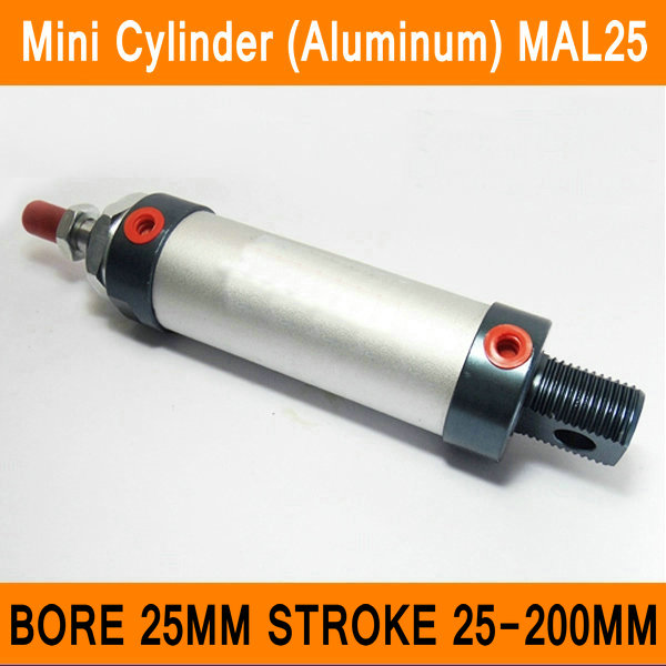 MAL25 Mini Cylinder CA Bore 25mm Stroke 25-200mm Rod Single Double Action Pneumatic Cylinder Aluminum Alloy Pneumatic Components used free shipping pressure lever spring compatible zebra 105sl thermal label printer printer part printing accessories