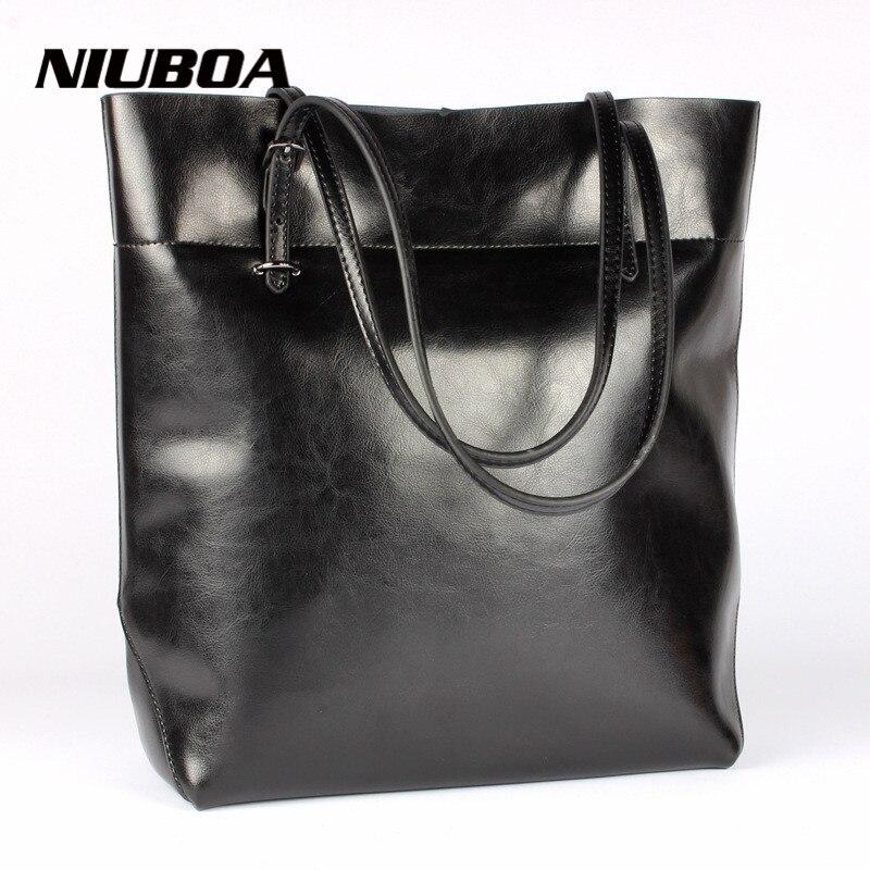 New Fashion Women Split Leather Handbag Brand Foldable Vintage Solid Women Messenger Shoulder Bag Leather Tote