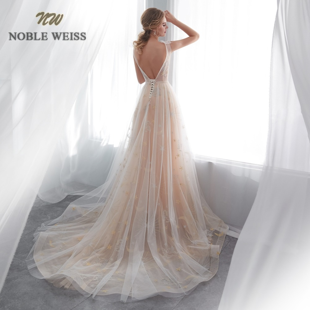 NOBLE WEISS Sheer O-Neck Evening Dresses 2019 Champagne Lace Formal Saudi Arabia Prom Gowns A-Line Tulle Robe De Soiree