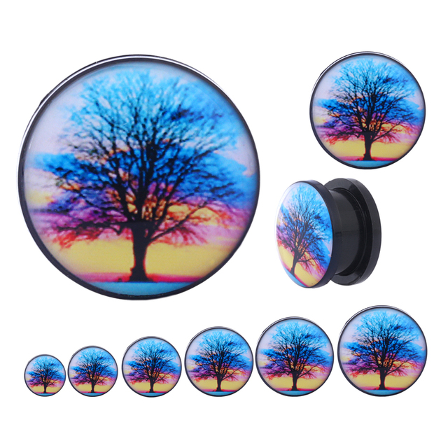 1 Pair Acrylic World Tree Ear Plugs