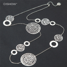 Фотография 2016 Women Chokers necklaces Long Hollow Vintage Circular Silvery Jewelry Handmade Big Collier femme Chocker Colares Collane