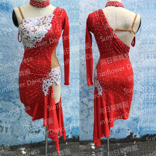 Latin Dance Dress Girl rumba samba Clothing Salsa Dresses Stage Wear Costumeslatindress Sunflower dance dress red