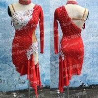 Latin Dance Dress Girl Rumba Samba Clothing Salsa Dresses Stage Wear Costumeslatindress Sunflower Dance Dress Red
