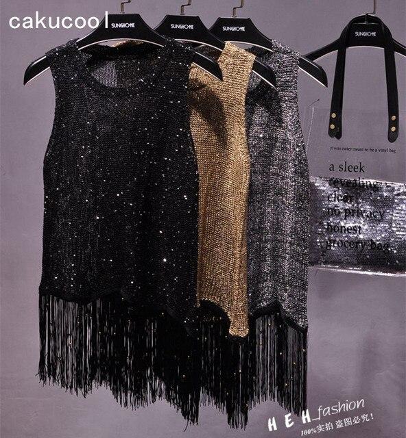 Cakucool New bling Glitter Summer knit Tops Women sexy Sequins tasseled gold Lurex sleeveless Shirt female Pull Blouse 3 colors