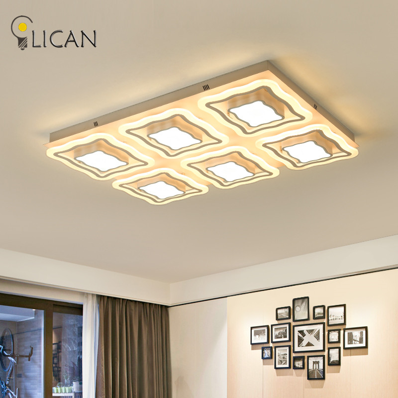 LICAN Chandelier lighting Modern for living room bedroom Rectangle shape white chandelier Remote control and dimmable Chandelier modern crystal chandelier hanging lighting birdcage chandeliers light for living room bedroom dining room restaurant decoration