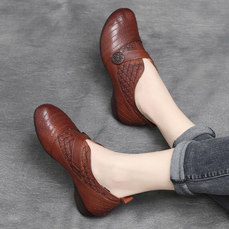 Bordado Retro brown vino Negro Hechos Marca Mujer Mocasines Cuero Pisos Bajo Mano Zapatos Vino Tinto De Primavera Tacón Genuino Rojo Mujeres A 8q4HZZ
