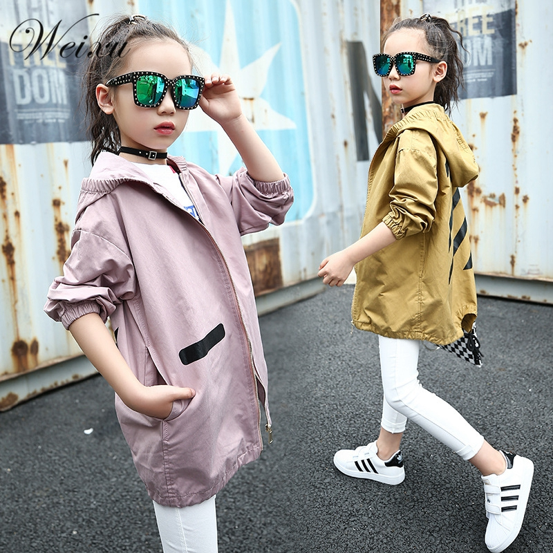 Weixu Girls Spring Autumn Trench Jackets Coats New Children's Zipper Hooded Long Jacket Coat Kids Windbreaker Outerwear Clothing шина michelin pilot super sport 255 40r20 101y