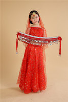 Children Belly Dance Costumes Girls Performance Dancing Sets Indian Sari Dresses For Kids Stage Performance Dancewear