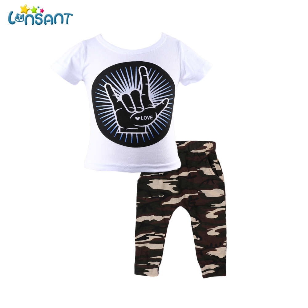 LONSANT Children Boys Clothes Sports Suits Tops T-shirt Camouflage Pants Toddler Boys Kids Clothing Outfits Dropshipping 4-24M
