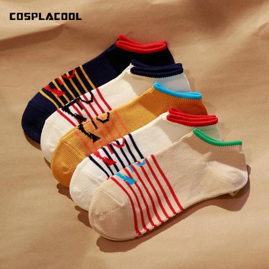 New Fashion Japanese Socks Men Retro Style Anchor Stripe Pattern Meias Breathable Cotton Mans Socks Calcetines Hombre