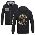 Sons of Anarchy thicking Fleece Jacket Samcro Men's sports Outerwear Zip hoodie sweatshirt Winter warm Black Coats