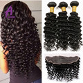 Brazilian Deep Wave With Lace Frontal Closure 7A Grade Alimice Brazilian Deep Wave Virgin Hair 13*4 Closure WithBundles