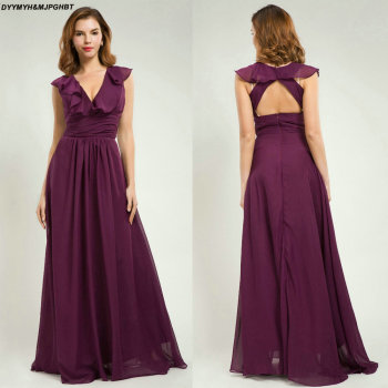 Elegant Long Chiffon Prom Dresses V Neck Open Back Purple Prom Gowns