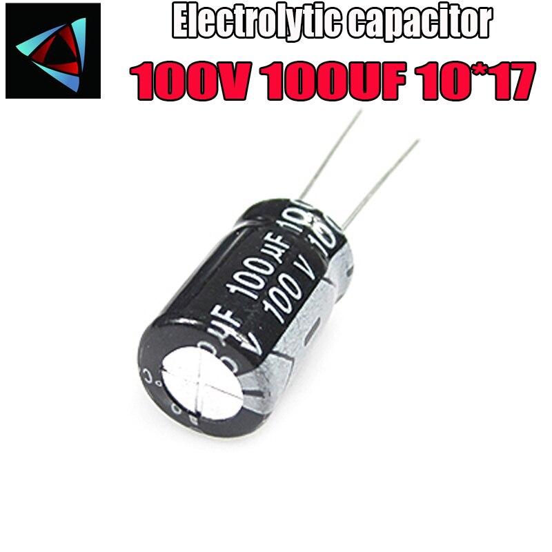 6PCS Higt Quality 100V 100UF 10*17mm 100UF 100V 10*17 Electrolytic Capacitor