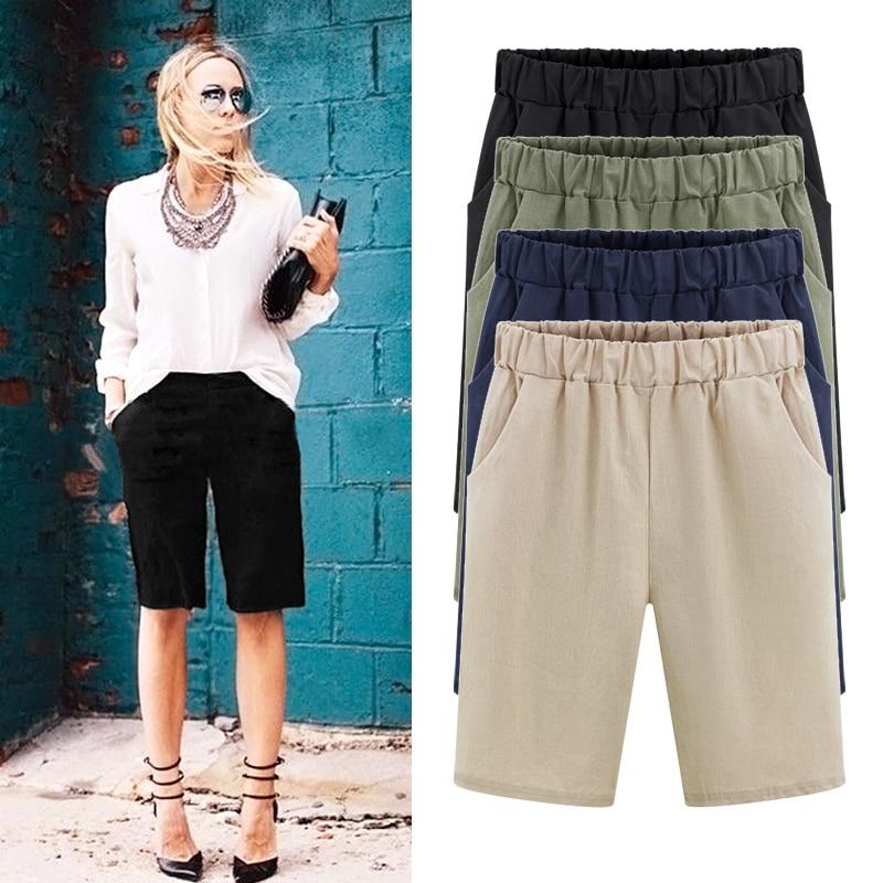 Plus velikost krátké dámské letní dámské ženy elastické vysoký pas volné velké velikosti pevné paketové ležérní pláž krátké M -6XL