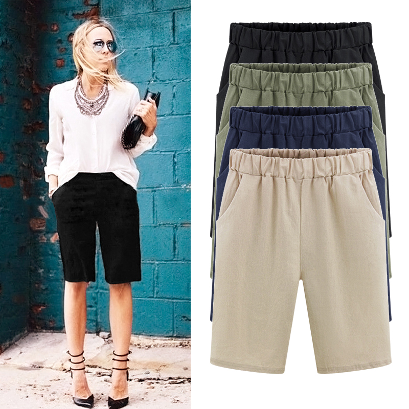 Plus size shorts women summer female women Elastic High waist loose large size Solid Packet casual beach shorts M -6XL