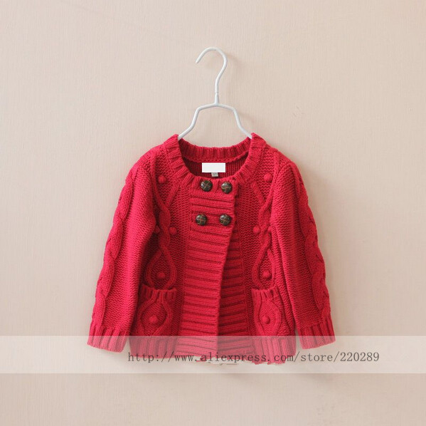 Y8307-55 Girls Sweater Solid Casual O-Neck Four Buttons Girl Sweater Red Girls Cardigan Baby Sweater 2018 new autumn winter baby girl sweater casual style girl cotton cardigan long sleeve o neck solid bow pattern children sweater
