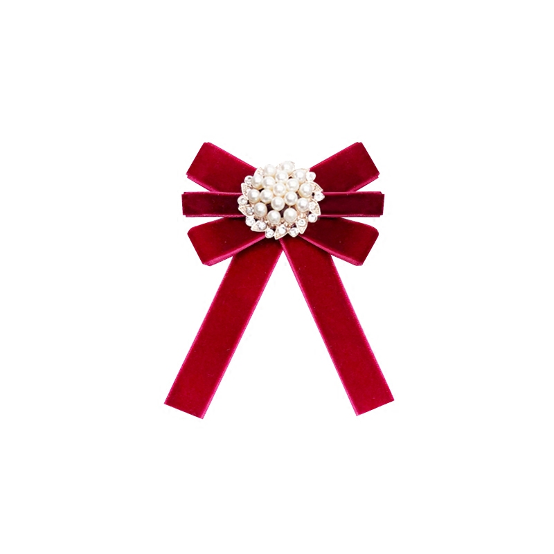 Free Shipping NEW Female Retro Pearl Bow Tie Brooch Solid Color Velvet Antique Cloth Brooch 2017 Shirt Women's Accessories