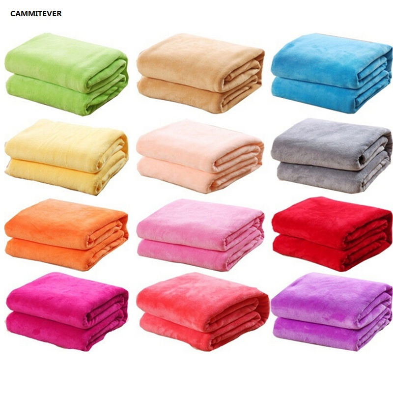 CAMMITEVER Cheap Blanket 100*70cm Fleece Blankets For Bed Throw Blanket Machine Washable Home Textile Solid Blankets for Home-in Blankets from Home & Garden