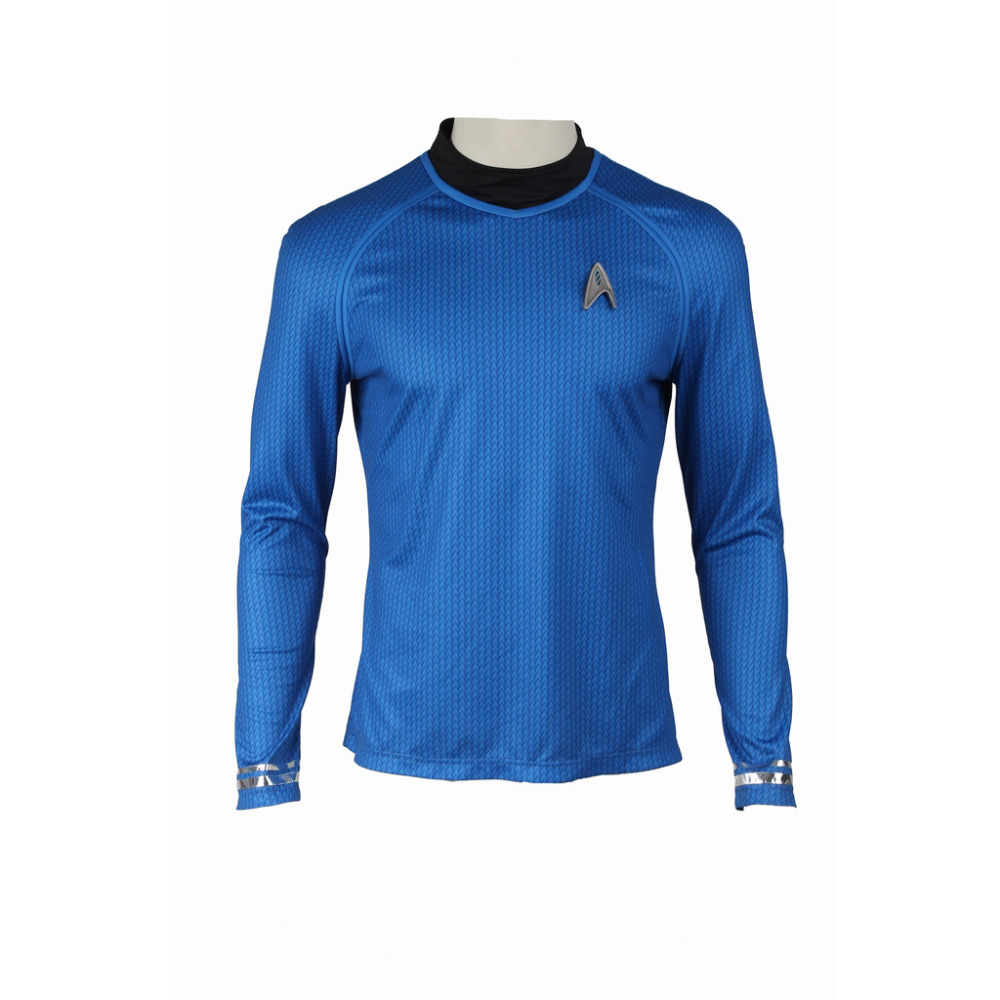 Star Trek Into Darkness Starfleet Kirk Spock Costume Blue Shirt Uniform Halloween Carnival For Men