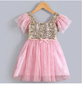fashion summer ruffle sleeve infant pink and gold sequin dresses