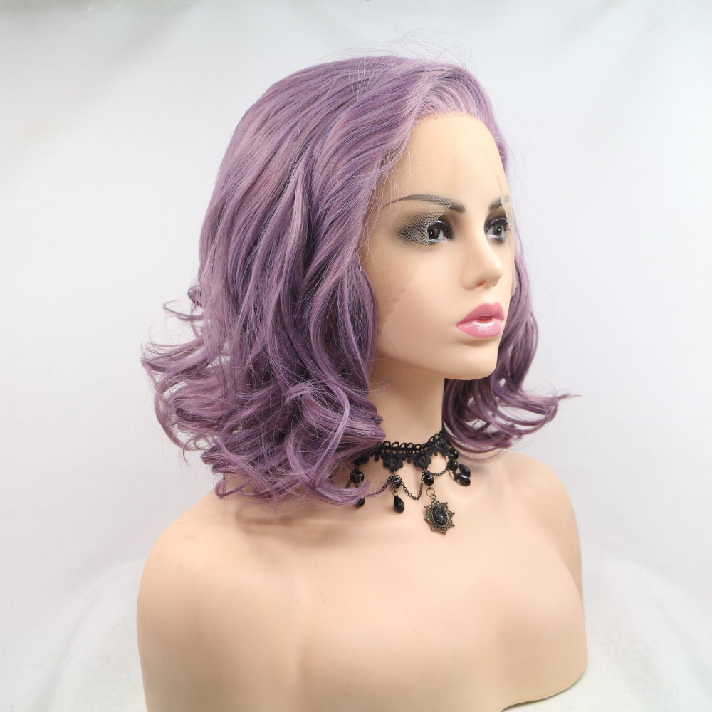 Fantasy Beauty Purple Short Bob Lavender Wavy Synthetic Lace Front Wig Heat Resistant Fiber Replacement Synthetic