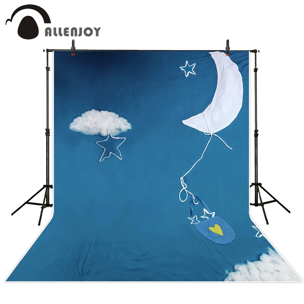 Allenjoy 5ftx7ft newborns Photography Backdrop cartoon clouds moon sky blue cloth imitation fabric background for studio 5x7ft fabric backdrop photography background beautiful heart shape clouds