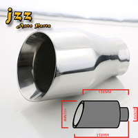 JZZ Universal Stainless Steel Weld On Racing Car Exhaust Muffler Tips 2 4in Inlet