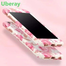 Uberay New Flower Design 360 Degree case For iPhone 7 6 6S Plus Full Body Protective Cases Cover With+Tempered Glass lovely cute