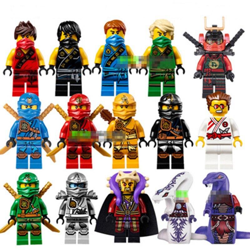 15pcs Lot NINJAGO Minifigures Cole Kai Jay Lloyd Nya Skylor Zane Pythor Chen Building Blocks font