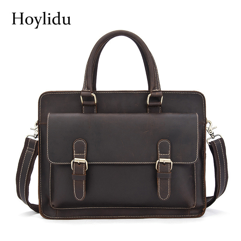 Genuine Leather Mens Business Briefcase Vintage Casual Office Laptop Handbags Large Capacity Travel Male Brown Shoulder BagsGenuine Leather Mens Business Briefcase Vintage Casual Office Laptop Handbags Large Capacity Travel Male Brown Shoulder Bags