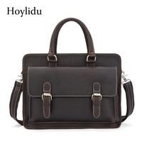Genuine Leather Men's Business Briefcase Vintage Casual Office Laptop Handbags Large Capacity Travel Male Brown Shoulder Bags