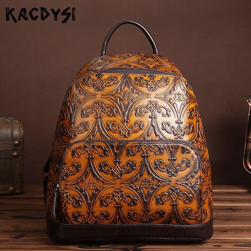 Original Genuine Leather Women s Backpack Embossed Handmade Rucksack Retro Laptop Notebook School Bags Designer Travel