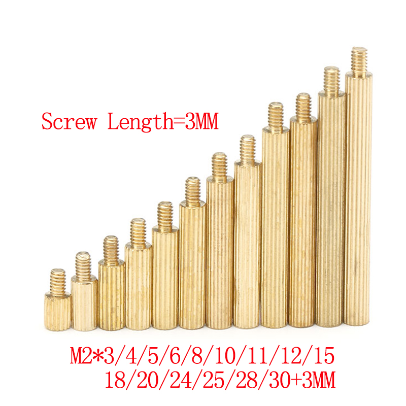 50pcs <font><b>M2</b></font> Brass Round knurl Male Female Standoff Stud Board Threaded Pillar PCB Motherboard Spacer Hollow <font><b>Bolt</b></font> Screw NutM2*L+<font><b>3mm</b></font> image