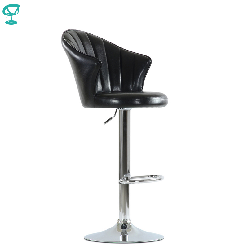 N31CrSpuBlack  Barneo N-31 SPU Leather Kitchen Breakfast Bar Stool Swivel Bar Chair Shiny Black Color Free Shipping In Russia