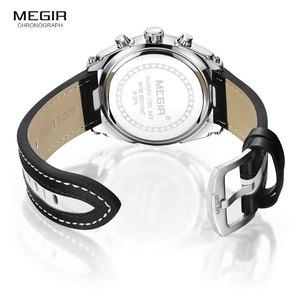 Image 5 - MEGIR אופנה גברים של הכרונוגרף קוורץ שעונים עור רצועת זוהר ידיים 24 שעה ספורט אנלוגי שעוני יד לגבר 2076 לבן