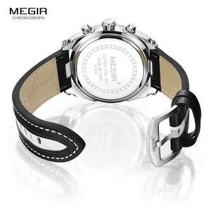 Image 5 - MEGIR Fashion Mens Chronograph Quartz Watches Leather Strap Luminous Hands 24 hour Sports Analogue Wristwatch for Man 2076White